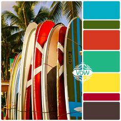 VOW - Retro Surf color palette Jay says kitchen colours Boys Room Decor, Kids Room, Vintage Surfing, Shark Room, Retro Surf, Surf Decor, Nostalgic Images, Paint Samples, Design Seeds
