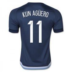 Argentina 2016 Sergio Aguero 11 Borte Drakt Kortermet.  http://www.fotballteam.com/argentina-2016-sergio-aguero-11-borte-drakt-kortermet.  #fotballdrakter