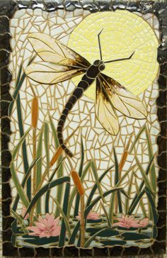 "Mosaic Wall Art Handmade Ceramic Tile "" DRAGON FLY"" on Etsy, $410.00"