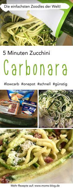 Genial: Nur 5 Zutaten und in 5 Minuten fertig: Low Carb Carbonara aus dünnen Zucchini-Streifen ( #zoodles ). EInfach Bacon und Knoblauch anbraten, dann die Zucchini-Streifen und Sahne dazu geben, etwas Parmesan dazu und nach 1-2 Min. ist das Essen fertig! :-) Das ausführliche Rezept gibt es auf http://www.moms-blog.de!