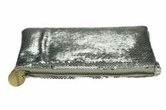 Sequin Clutch Matte Silver with silk lining