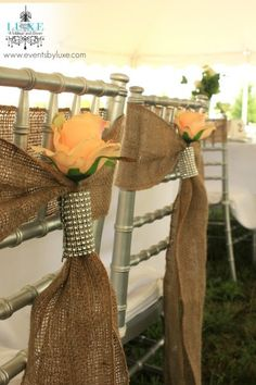 Rustic wedding burlap chair sashes with flower and bling