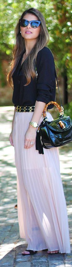 Pink Flowy Maxi Skirt Fall Inspo by The Girl From Panama