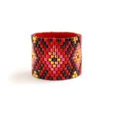 Wide boho ring Bohemian ring Wide beaded ring Red ring Wide