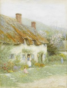 Helen Allingham 'Mother and child outside a country cottage' 19thC watercolour, via Flickr.