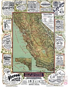 Vintage map of California, c. 1895, showing roads for cyclers. Around the perimeter of the map are advertisements for California bicycle shops and riding schools.
