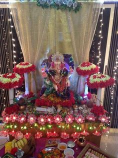 Discover theme based Ganpati decoration ideas at home. Decorate your home for Ganesh pooja using a theme. Get fresh, new ideas and tips for pooja decoration Ganpati Decoration Theme, Eco Friendly Ganpati Decoration, Mandir Decoration, Ganapati Decoration, Diwali Decorations, Festival Decorations, Flower Decorations, Wedding Decorations, Backdrop Design