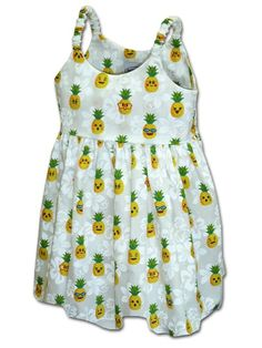 9a2758c8 Pacific Legend Pineapple White Cotton Toddlers Hawaiian Bungee Dress |  AlohaOutlet White Cotton, Hawaiian,
