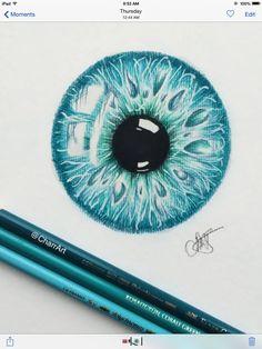 Draw Eyes Eye art, sketch in teal blue - Pencil Art Drawings, Drawing Sketches, Cool Drawings, Sketching, Eye Drawings, Realistic Eye Drawing, Eye Sketch, Color Pencil Art, Eye Art