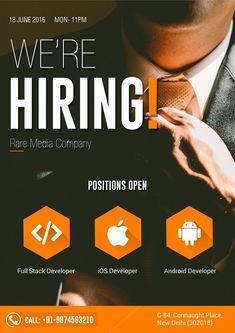 Job hiring poster design template. Click to customize ...