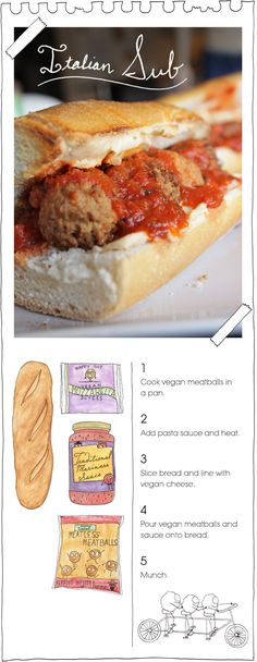 """Forget the vegan part, use the real ingredients of these and just the vegan guidelines: """"Italian Sub"""" String Cheese, marinara sauce, Bread, meatballs"""