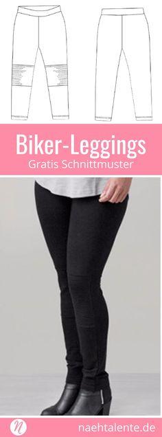 Damen-Leggings im Biker-Stil selber nähen ❤ kostenloses Schnittmuster ❤ Gr. XS - XL ❤ PDF zum Ausdrucken ❤ Freebook  ✂️ Nähtalente - Das Magazin für Hobbyschneider/innen mit Schnittmuster-Datenbank ✂️