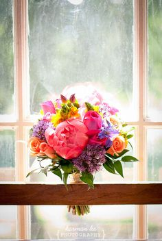 Colorful wedding bouquet with pink peony