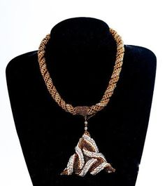 Beaded Matt Gold Silver Seed Bead Necklace with 3D Triangular Pendant, Elegant Women's Beadwoven Jewelry, Wedding Jewelry, Unique Gift by TryBeads on Etsy