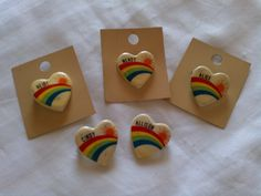 Rainbow heart name pins #80s
