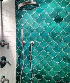 A Mermaid Shower!!! Yes please! This picture is inspiration for one mythical bathroom.