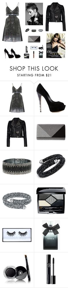 """Contest: Black Studded Party Outfit With Crystals"" by billsacred ❤ liked on Polyvore featuring David Koma, Casadei, Boohoo, Jessica McClintock, Anne Klein, Swarovski, Christian Dior, Huda Beauty, Torrid and Chanel"