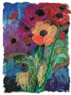 Combine fiber and fabric to create contemporary fiber art pieces like this one. I love the composition of the flowers ~ clothpaperscissors.com