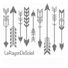 Modern cross stitch pattern indian arrows black by LeRayonDeSoleil, €3.00