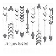 Modern cross stitch pattern indian arrows black by LeRayonDeSoleil, €3.00