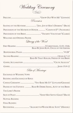 Wording wedding programs wedding directories order of service church