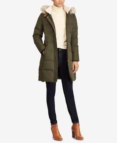Lauren Ralph Lauren Faux-Fur Down Coat - Litchfield Loden XXS Winter Outfits For School, Fall Outfits, Fashion Outfits, Trendy Outfits, Preppy Fashion, Girly Outfits, Work Outfits, Chic Outfits, Down Coat