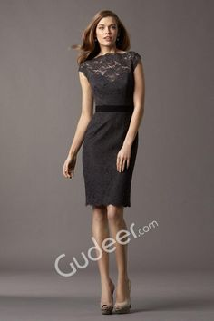 Black Lace Boat Neck Cap Sleeve Short Sheath Bridesmaid Dress