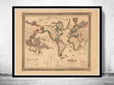 Old World Map Atlas Vintage World Map 1850 by OldCityPrints