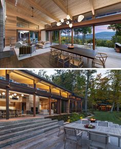 A retractable glass door system opens up to create a true indoor / outdoor living environment for this modern house. Modern Wood House, Modern House Design, Modern Glass House, Wood House Design, Glass House Design, Casas Containers, Modern Mountain Home, Indoor Outdoor Living, House In The Woods