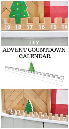 A DIY tutorial to make a wood advent countdown calendar using one board and a cu. - - A DIY tutorial to make a wood advent countdown calendar using one board and a cut out tree shape. Kids will love counting down the days by moving the tree. Christmas Wood Crafts, Noel Christmas, Holiday Crafts, Christmas Decorations, Xmas, Countdown To Christmas, Diy Christmas Projects, Winter Wood Crafts, Woodworking Christmas Gifts