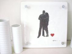 silhouette art made from photo and lyrics/vows