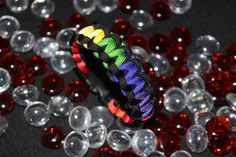 LGBT PRIDE Rainbow Hand Dyed Cobra Weave Black by PTownParacord, $6.00