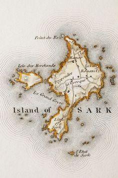 Antique #map Sark, Channel Islands