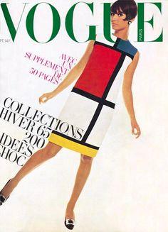 French Vogue Cover - September 1965 Mondrian Vintage