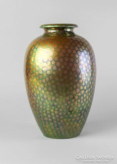 Very large ceramic vase with textured eosin glaze by Zsolnay. Decorated with a snake skin-like texture that has a brilliant luster, circa The Zsolnay factory was established by Miklos Zsolnay in Pecs, Hungary in Ceramic Vase, Hungary, Ceramics, Texture, Ebay, Home Decor, Pottery Vase, Ceramica, Surface Finish