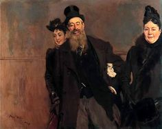 Giovanni Boldini (Italian 1842–1931) [Portraiture] John Lewis Brown with Wife and Daughter, 1890.
