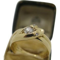 A Beautiful English High quality Ladies Victorian 18k Gold Diamond snake ring London 1879