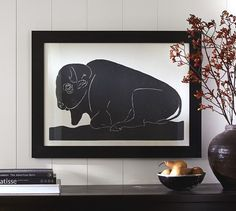 Wood Block Buffalo Framed Print | Pottery Barn