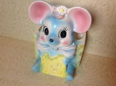 Vintage Rare Baby Nursery Planter Big Eyed Mouse With Cheese Napco