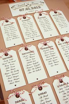 Table Plan idea using luggage tags...cute idea for destination wedding