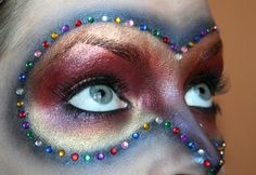 Masquerade Party Metallic Eyes & Rhinestones ... GORGEOUS! #Beauty #Makeup