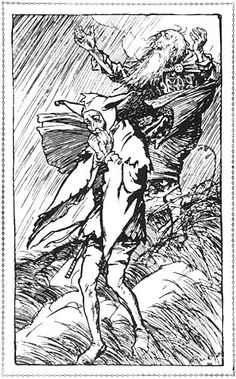 There upon a heath, exposed to the fury of the storm on a dark night, did King Lear wander out - King Lear from Tales From Shakespeare by Charles and Mary Lamb, 1909