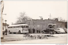 RP: Greyhound Bus Stop & Shoals Cafe , SHOALS , Indiana , 1930s-40s #2 - Delcampe.com Martin County, Family Roots, Bus Stop, Original Image, 1930s, Vintage Photos, Indiana, Planes