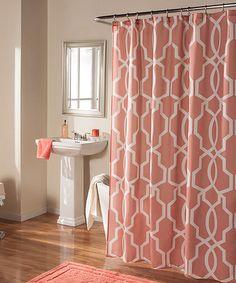 Coral Linea Shower Curtain #zulilyfinds