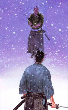 "Takehiko Inoue / 井上雄彦 —( 1996 – Current ) ""Vagabond"" / ""バガボンド"" Illustration [ Miyamoto Musashi / 宮本武蔵 , Yoshioka Denshichirō / 吉岡伝七郎 ]"
