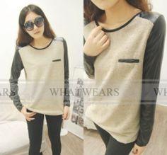 $6 WWF Womens Leather Sleeve Stitching Knitting Shirt T-shirt Long Sleeve TopsA1301 | eBay