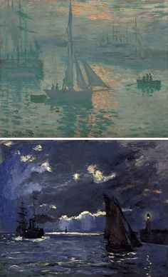 Sunrise (Marine), Claude Monet, 1873 @GettyMuseum (top) and Seascape, Shipping by Moonlight, Claude Monet, about 1864 @ Scottish National Gallery (bottom)