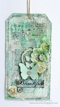 Nadia Cannizzo: 13arts April Challenge... A mixed media tag! by snoopymeey