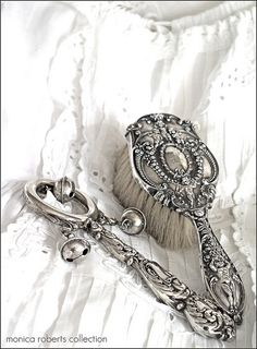 antique sterling silver baby rattle and brush ... ca. 1900