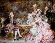 lovely rococo painting<3.  love the almost impressionistic strokes in this picture.